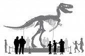 Editable vector silhouettes of people looking at a Tyrannosaurus rex skeleton in a museum poster
