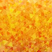 Abstract vector background with bright orange scattered triangles poster