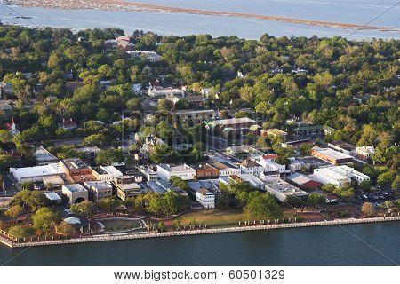 aerial view of beaufort, south carolina, usa