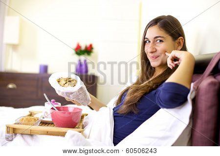 Happy Cute Girl Having Breakfast In Bed