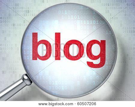 SEO web design concept: Blog with optical glass