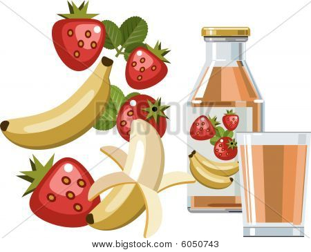 Strawberry and banana juice or smoothie