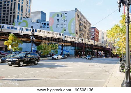 CHICAGO, IL - OCT 3: Metro in Chicago downtown on October 3, 2011 in Chicago, Illinois. Chicago is the third most populous city in the United States, after New York City and Los Angeles