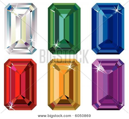 Emerald cut precious stones with sparkle