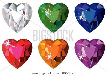 Heart cut precious stones with sparkle
