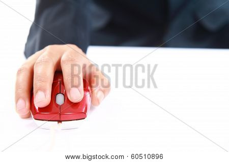 Hand Using Red Mouse Computer