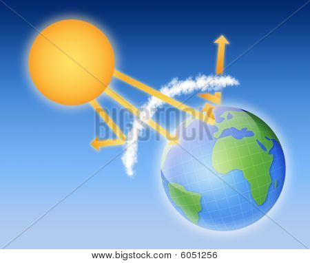 earth atmosphere greenhouse effect scheme with sun rays and planet. Global warming theme poster