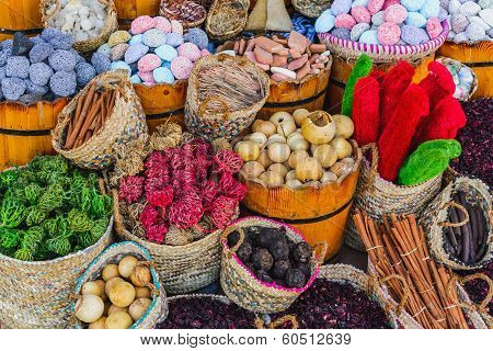 Spices and herbs on market
