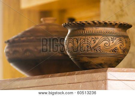 Folk Art Clay Pot