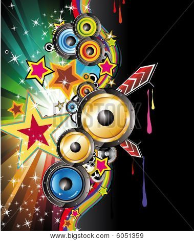 Colorful Discoteque Flyer with high contrast colours