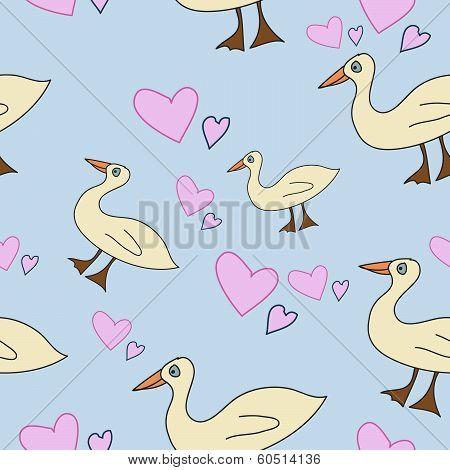 Seamless Pattern With Cartoony Ducks