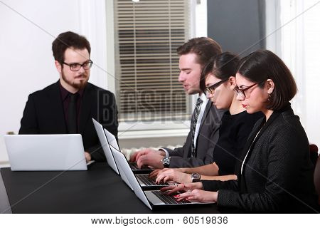 Team working in business office