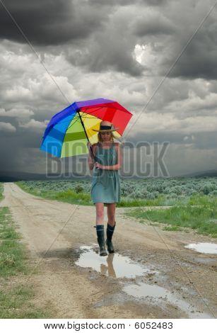 Girl &  Rainbow Umbrella