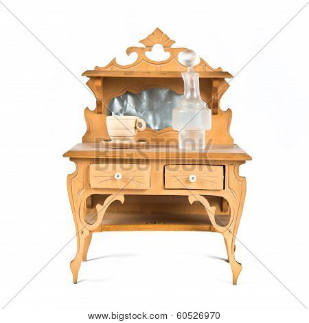 Dollhouse Furniture Over White Background