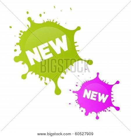 Green, Pink Vector New Splashes, Blots