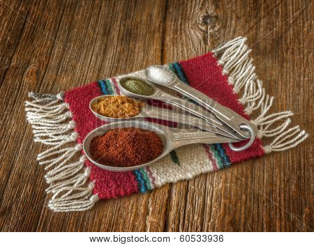 Selection Of Colorful Spices In Measuring Spoons On An Old Worn Wooden Crate.