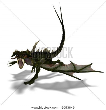 3D rendering of a giant terrifying dragon with wings and horns attacks with clipping path and shadow over white poster