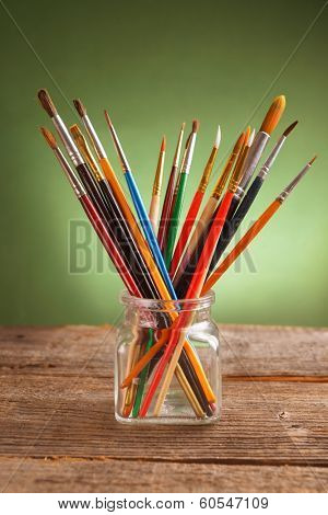Many artist brushes for use with any media like acrylic, wtercolor and others