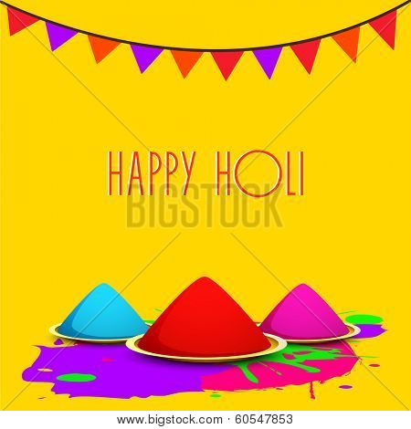 Indian festival Happy Holi celebrations concept with colors on yellow background.
