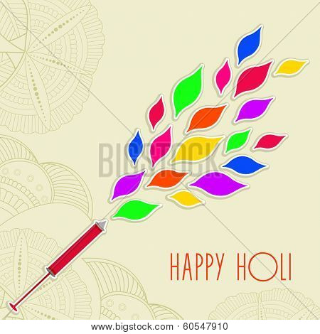 Indian festival Happy Holi celebrations concept with beautiful colours splash coming out from a pichakri on floral decorated background.