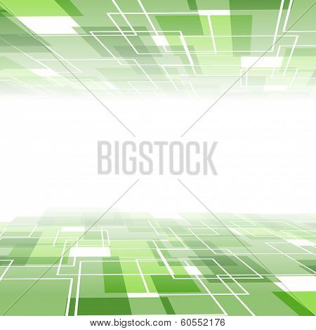 Green tile background template - perspective view, Vector illustration poster