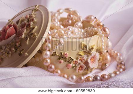 Beautiful jewelry pearl in a small box