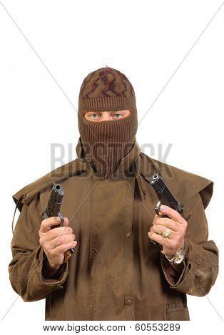 Terrorist with two semi-automatic pistols isolated on white