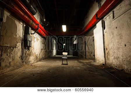 Old Industrial Building, Basement With Little Light