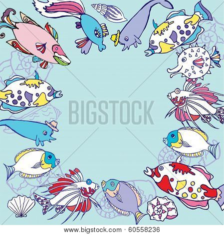Blue Background with multi colored fishes.Vector illustration poster