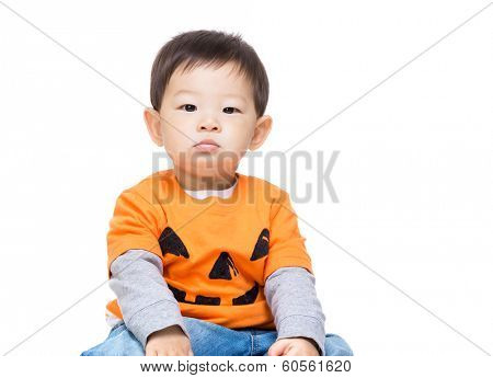 Asia baby boy with halloween dressing