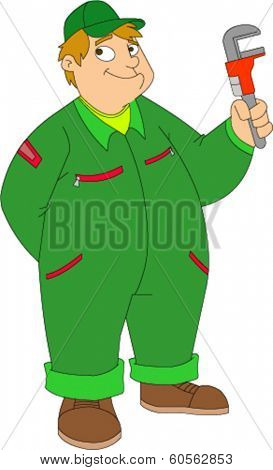 Hefty, smiling young man in coveralls holding wrench