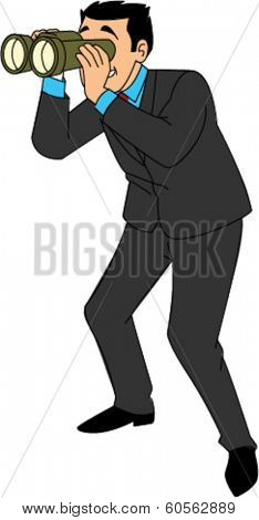 Businessman in suit looking through binoculars
