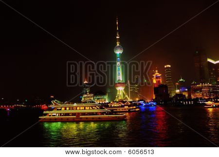 city cityscape shanghai tower china nightscape architecture bund building river business skyscraper asia metropolis oriental night east high chinese skyline landmark commerce orient sky highrise travel pudong pearl rise modern waterfront finance sign view poster