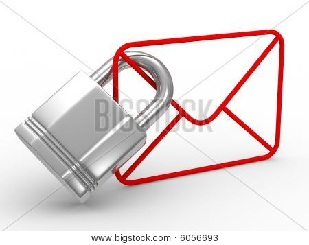 E-mail Concept On White Background. Isolated 3D Image