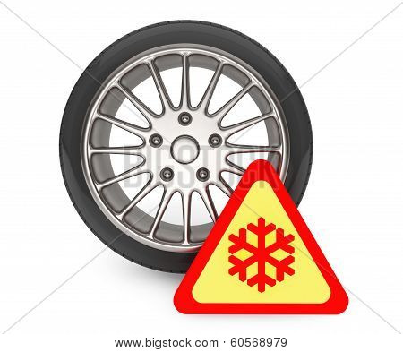 Winter Car Wheel Tire With Snowflake Sign