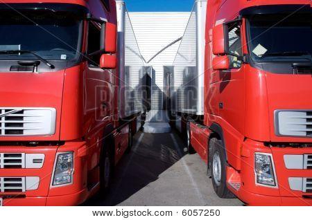 Red Trucks At Warehouse