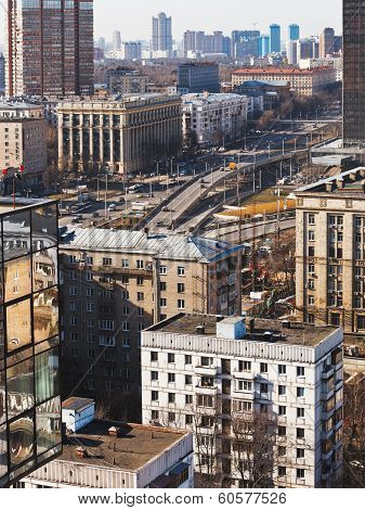 above view Volokolamskaya overpass - new traffic intersection on Leningradsky Avenue in Moscow poster