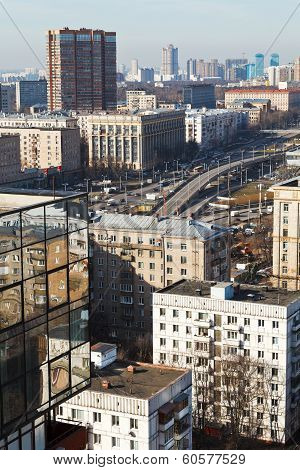 above view Volokolamskaya overpass - new transport interchange on Leningradsky Avenue in Moscow poster
