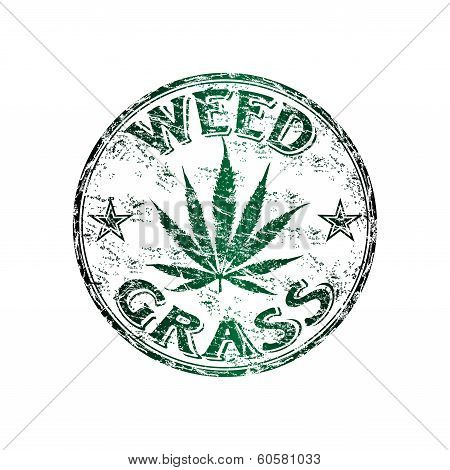 Weed grunge rubber stamp