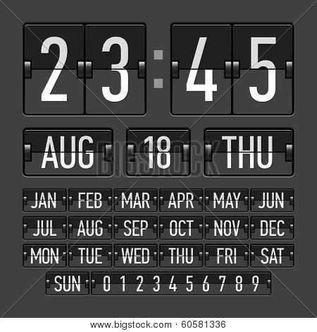 Flip clock template with time, date and day. Vector.