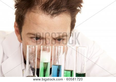 Mad Scientist Look At Test Tubes Close