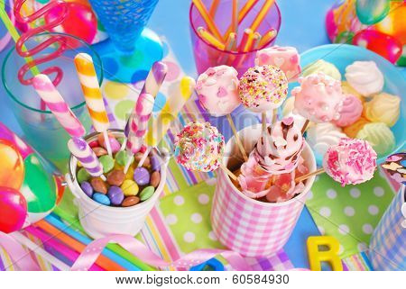 Birthday Party Table With Sweets For Kids