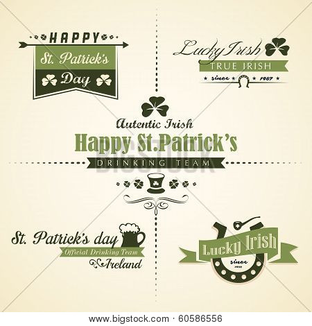 Vector Set Of Saint Patricks Day Ornaments And Decorative Elements, With Retro Vintage Styled Design
