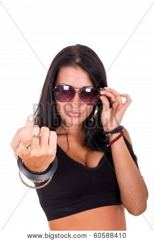 Sexy Woman Making Beckoning Gesture With Finger Showing 'come Here'
