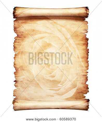 Old piece of parchment paper with romantic rose floral design artistic letter background