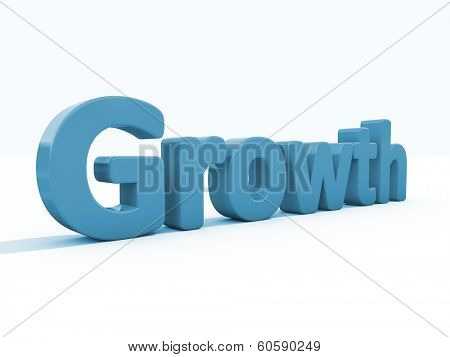 Word growth icon on a white background. 3D illustration. poster
