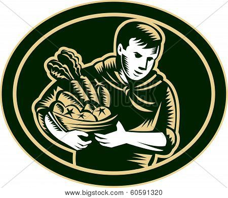 Organic Farmer Crop Harvest Woodcut