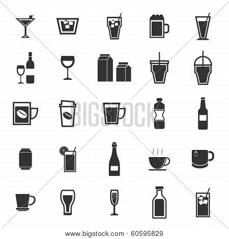 Drink Icons On White Background