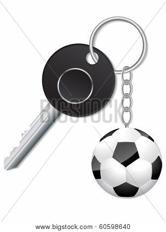 Black Key With Soccer Ball Keyholder