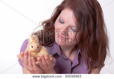 young women with plush bunny